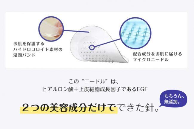 ヒアルロン酸で出来たマイクロニードルパッチ