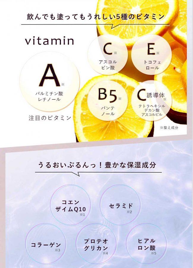 ビタミンと保湿成分